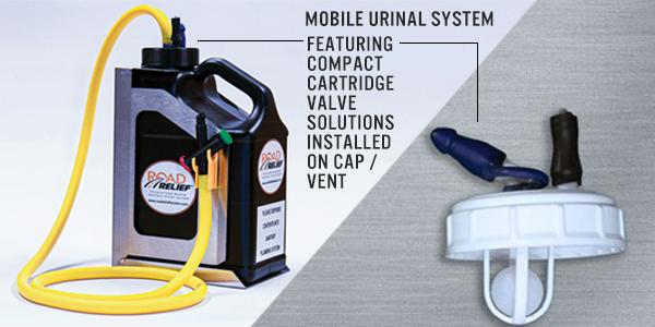 Series 100 valves for mobile urinal system