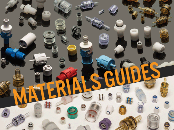 Plastic body and o-ring materials guides for check valves